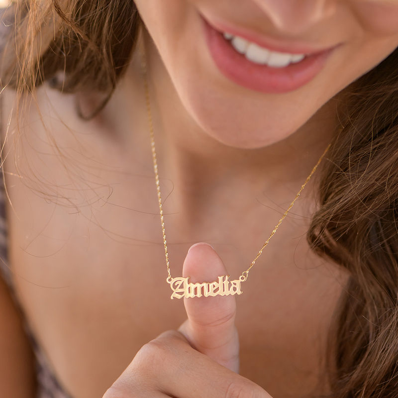 Custom Gothic Name Necklace in 18K Gold Plating - Unisex - 6