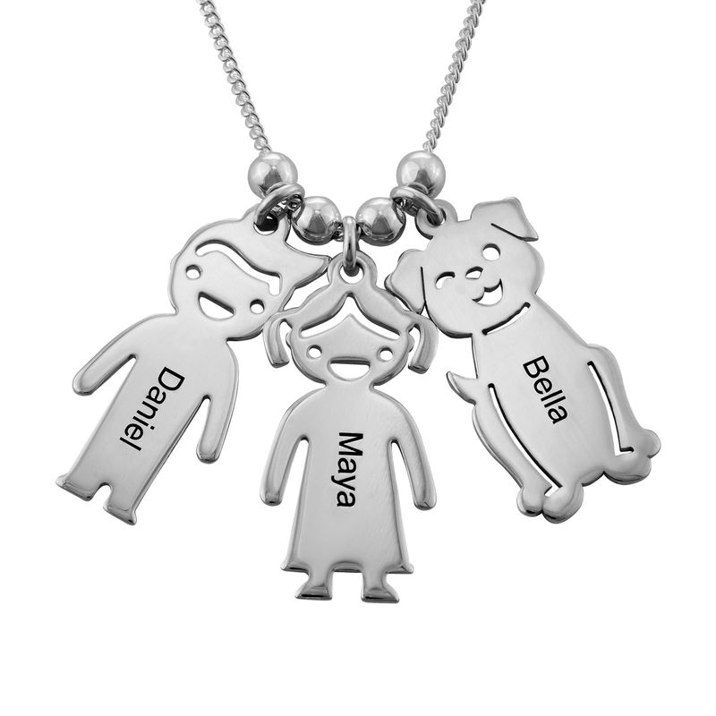 Engraved Kids Charm with Cat and Dog Charm Necklace in Silver - 1