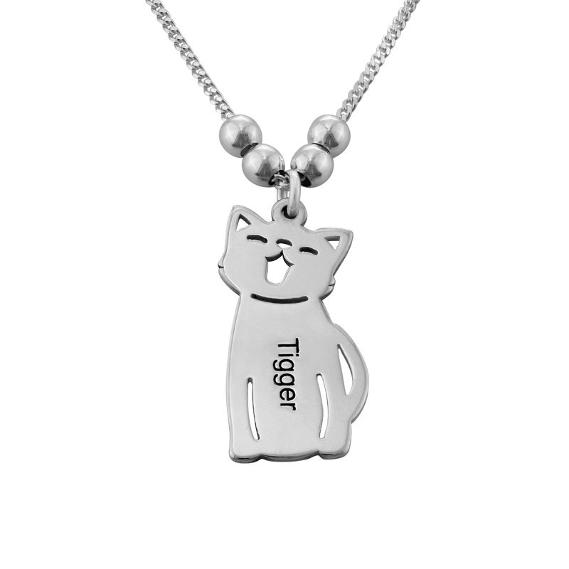 Engraved Kids Charm with Cat and Dog Charm Necklace in Silver - 2