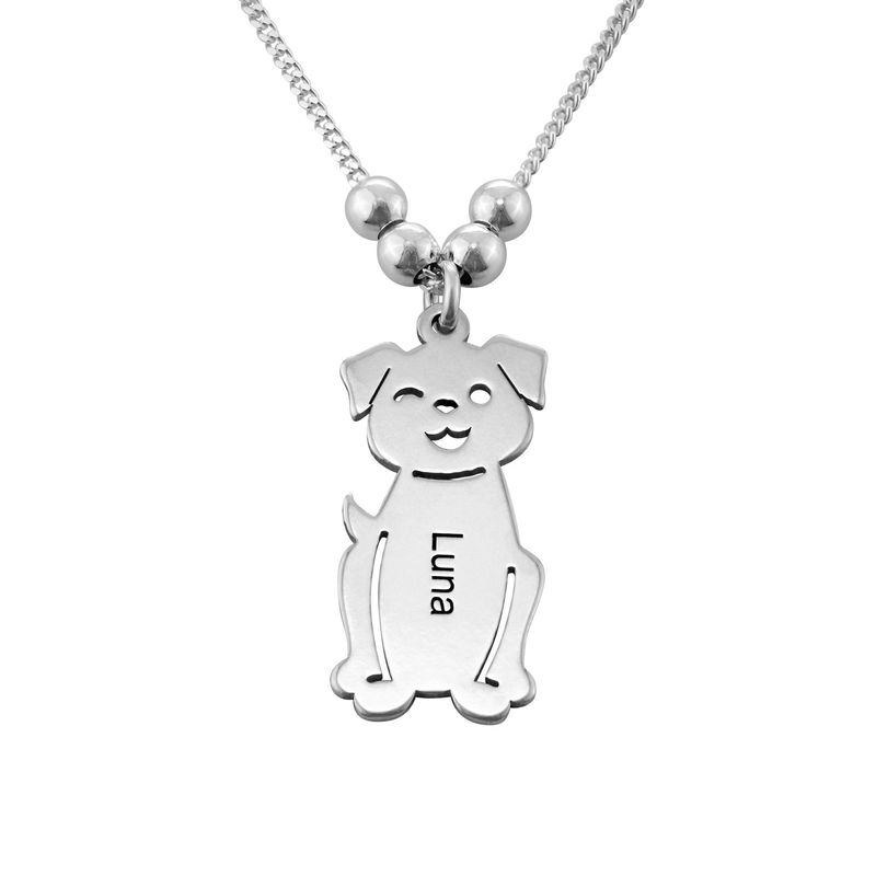Engraved Kids Charm with Cat and Dog Charm Necklace in Silver - 3