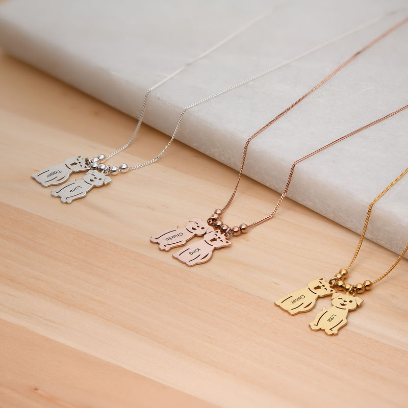 Engraved Kids Charm with Cat and Dog Charm Necklace in Silver - 4