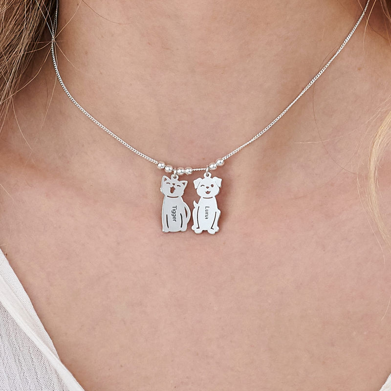 Engraved Kids Charm with Cat and Dog Charm Necklace in Silver - 5