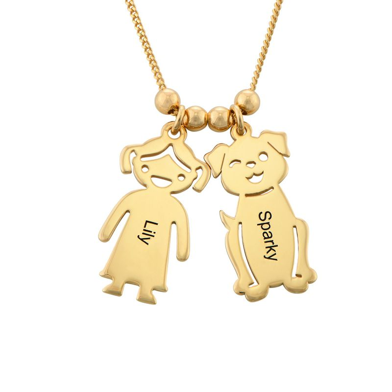Engraved Kids Charm with Cat and Dog Charm Necklace in Gold Plating - 1