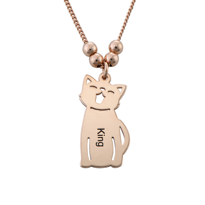 Engraved Kids Charm with Cat and Dog Charm Necklace in Rose Gold Plating - 2