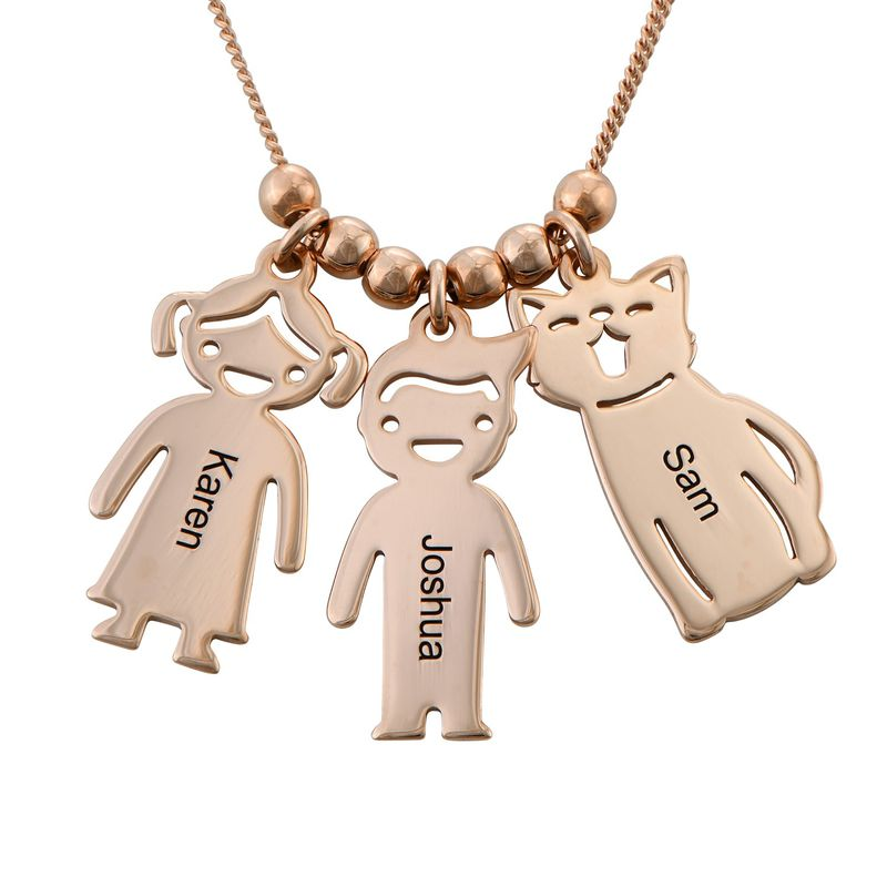 Engraved Kids Charm with Cat and Dog Charm Necklace in Rose Gold Plating - 4
