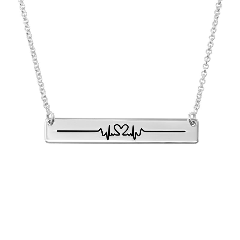 Heart Beat Bar Necklace in Silver