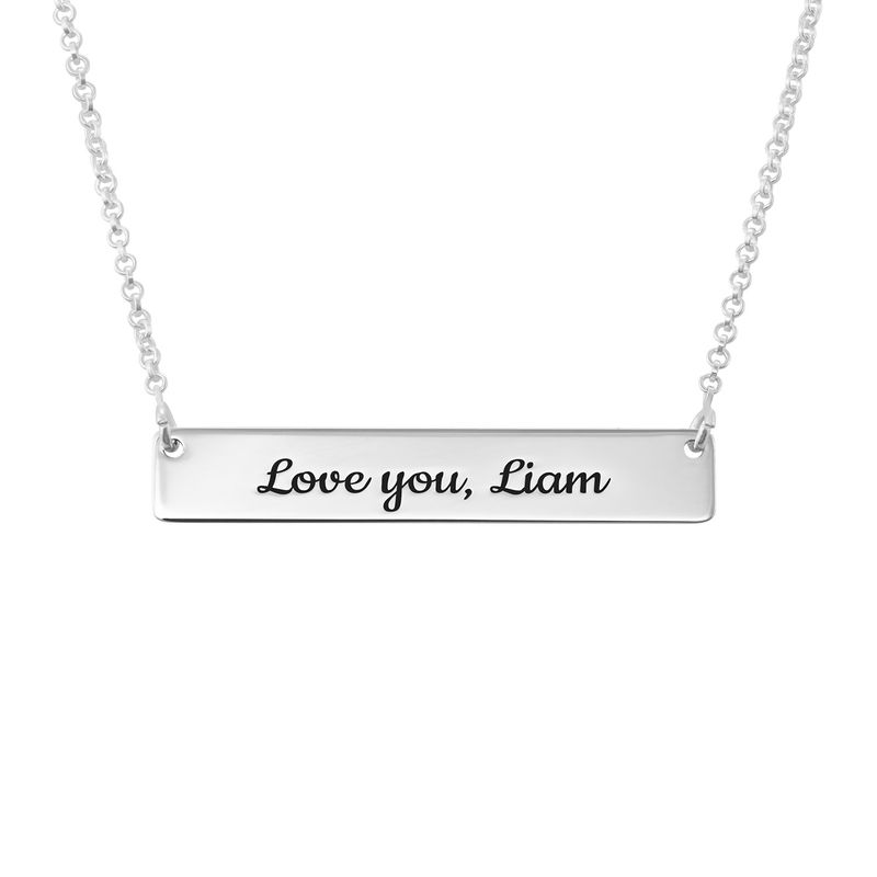 Heart Beat Bar Necklace in Silver - 1