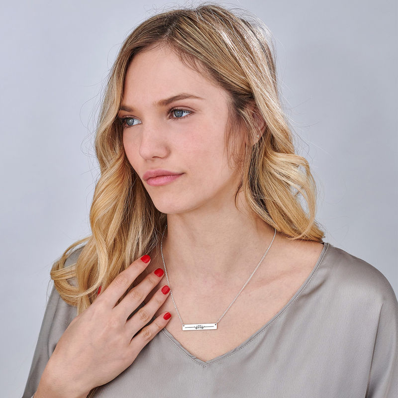 Heart Beat Bar Necklace in Silver - 3