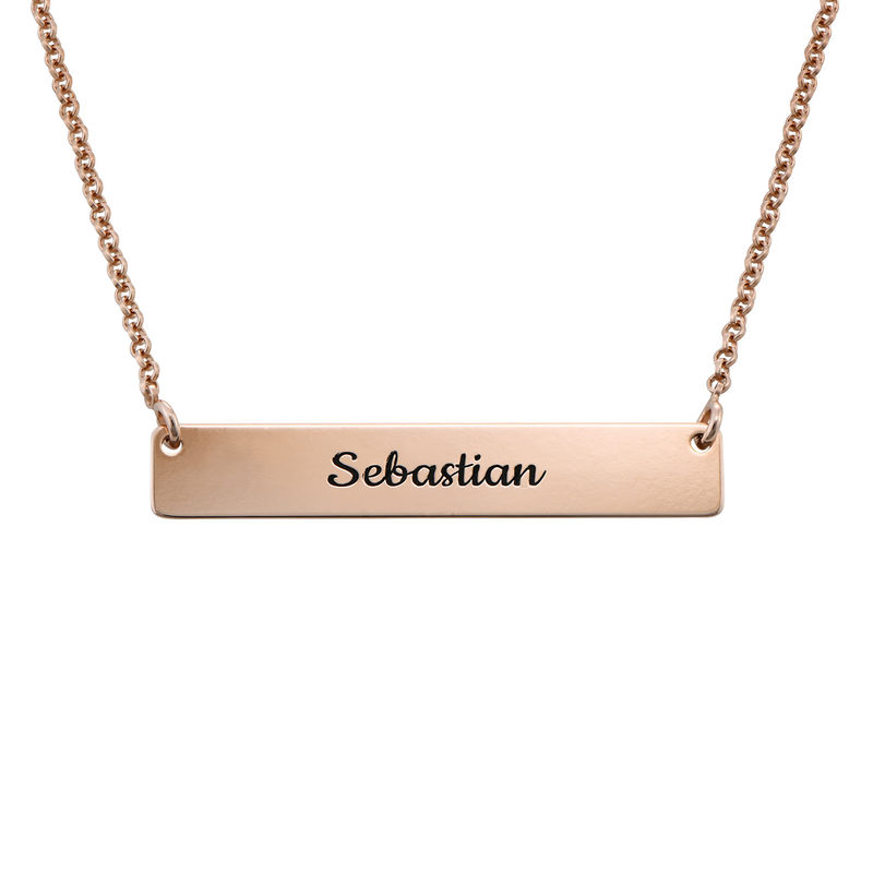 Heart Beat Bar Necklace in Rose Gold Plating - 1