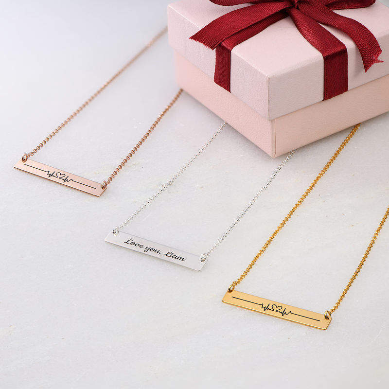 Heart Beat Bar Necklace in Rose Gold Plating - 2