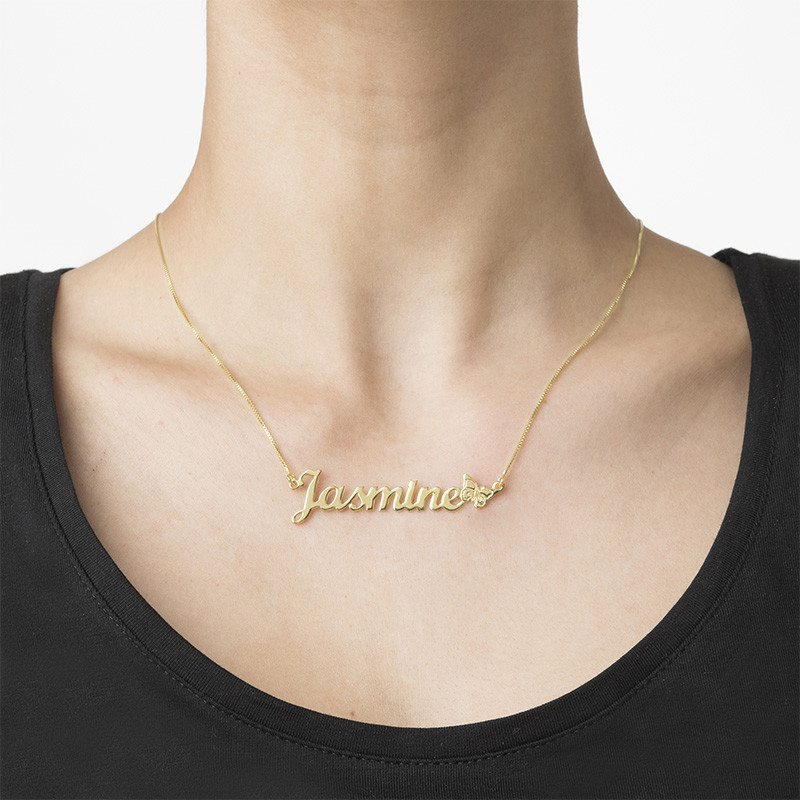 10K Solid Gold Butterfly Name Necklace - 1