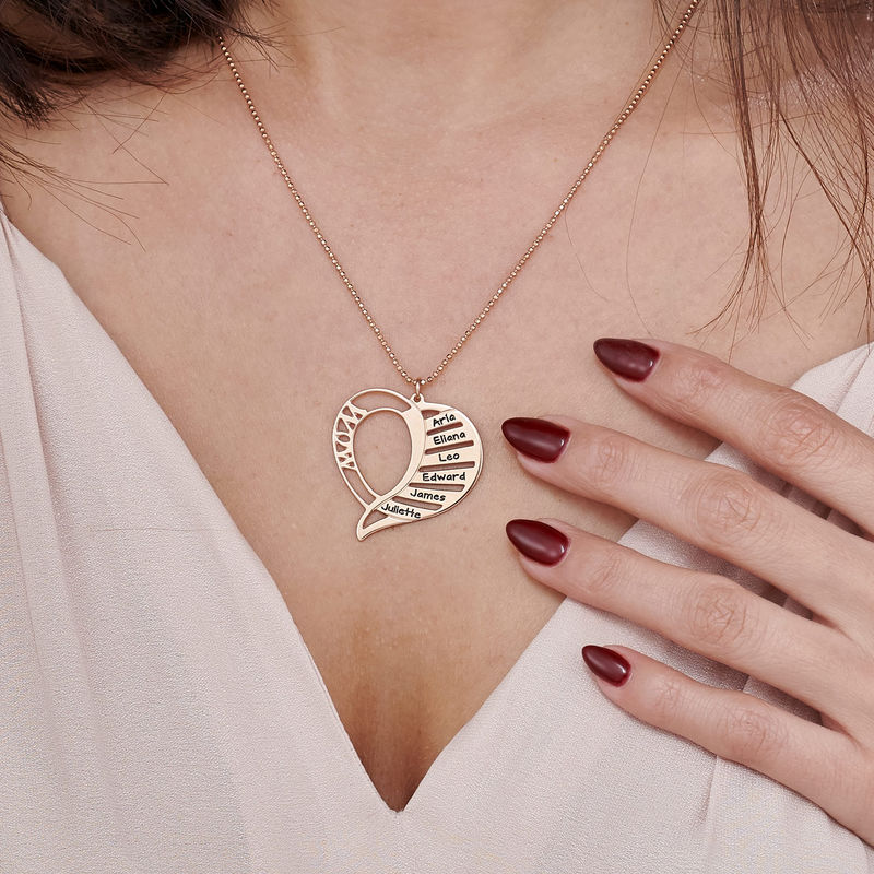 Engraved Mom Necklace in Rose Gold Plated - 3