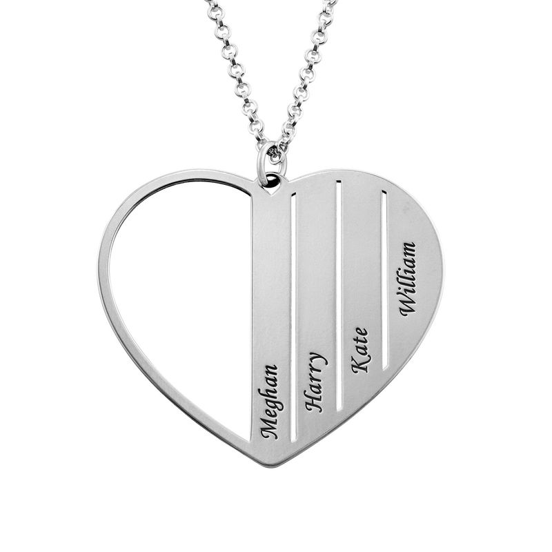 Mom Heart Necklace in Sterling Silver