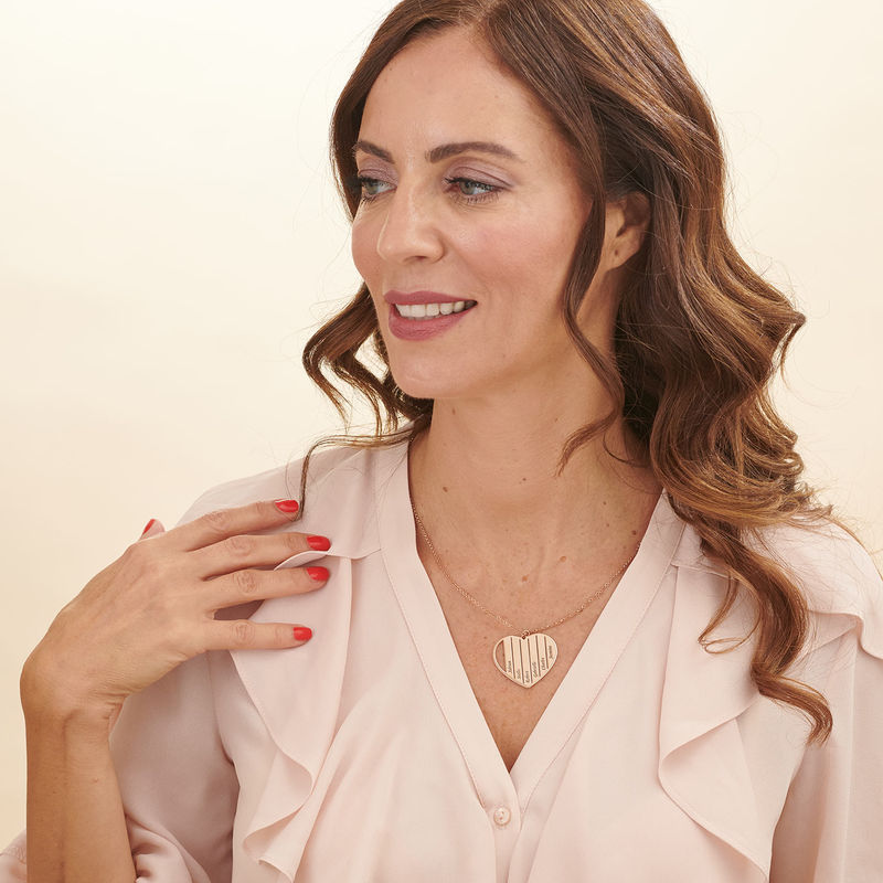 Mom Heart Necklace in Rose Gold Plating - 2