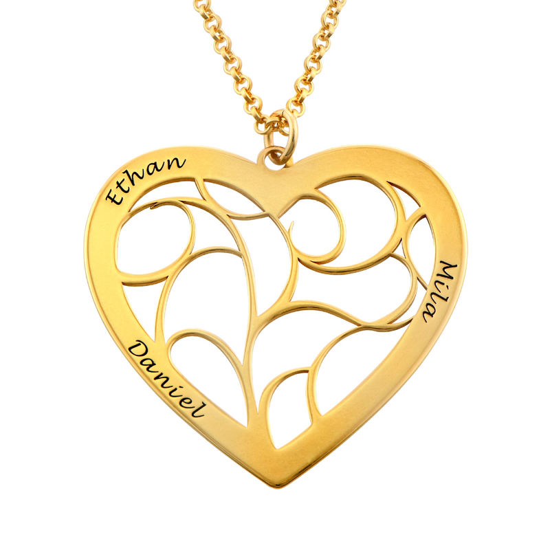 Heart Family Tree Necklace in Gold Plated