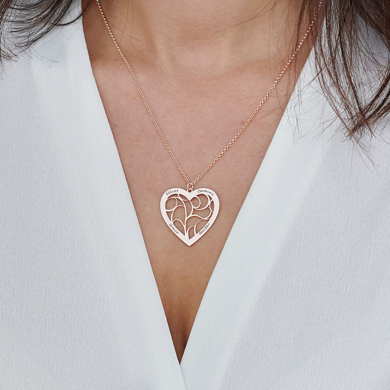 Heart Family Tree Necklace in Rose Gold Plating - 3
