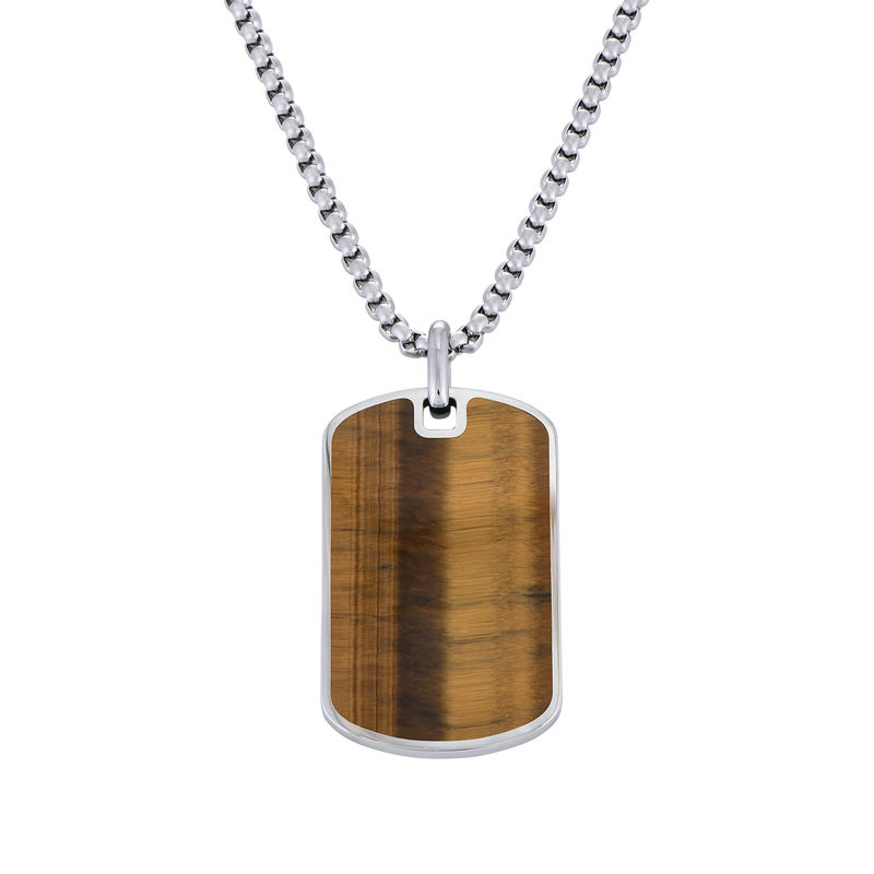 Tiger's Eye Dog Tag Necklace for Men
