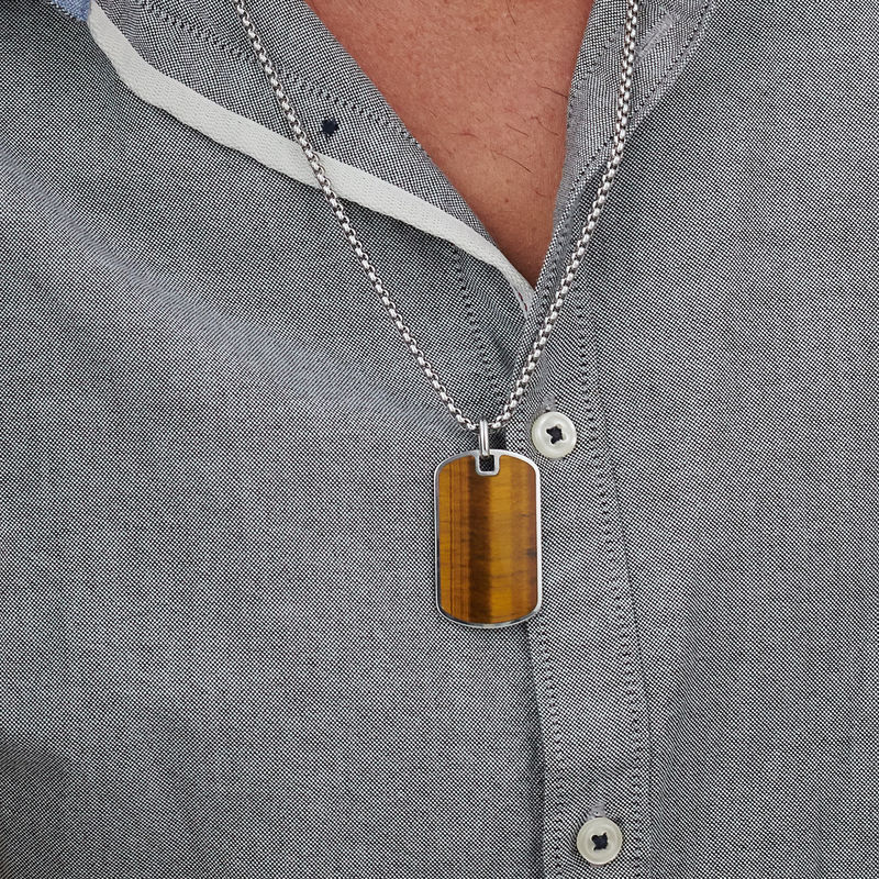Tiger's Eye Dog Tag Necklace for Men - 3