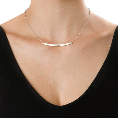 Personalized Curved Bar Necklace - 1