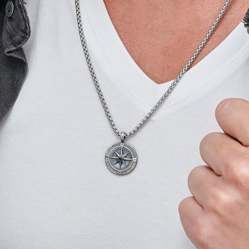 Engraved Compass Pendant Necklace for Men in Sterling Silver - 3