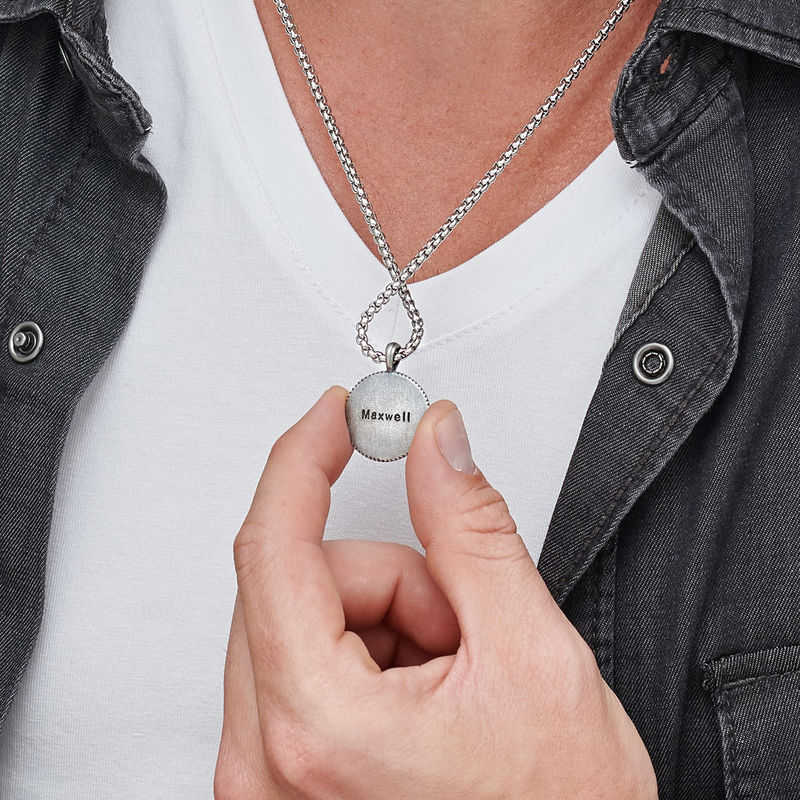 Engraved Compass Pendant Necklace for Men in Sterling Silver - 4