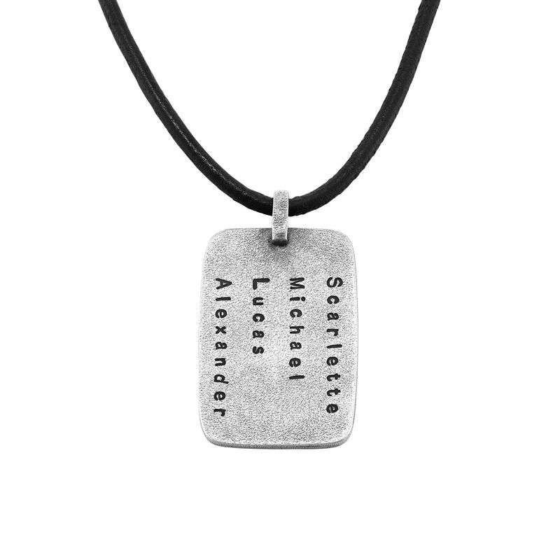 Personalized Dog Tag Leather Cord Necklace for Men