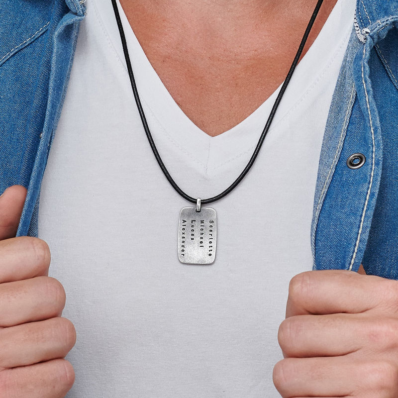 Personalized Dog Tag Leather Cord Necklace for Men - 2