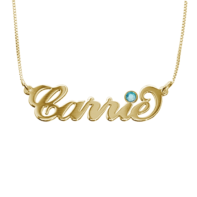 18K Gold-Plated Silver Name Necklace with Birthstone