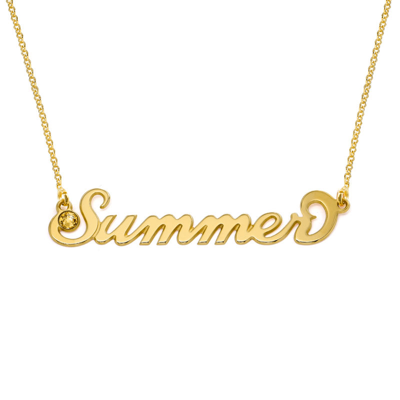 """Gold Vermeil """"Carrie"""" Style Name Necklace with Swarovski"""