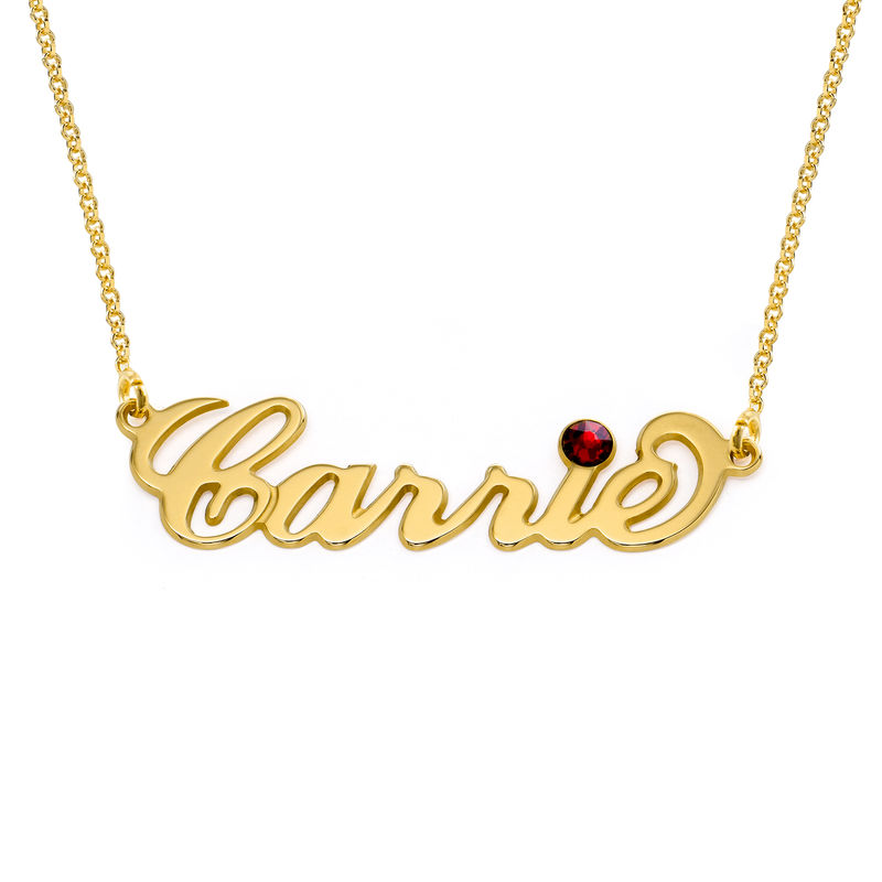 """Gold Vermeil """"Carrie"""" Style Name Necklace with Swarovski - 1"""