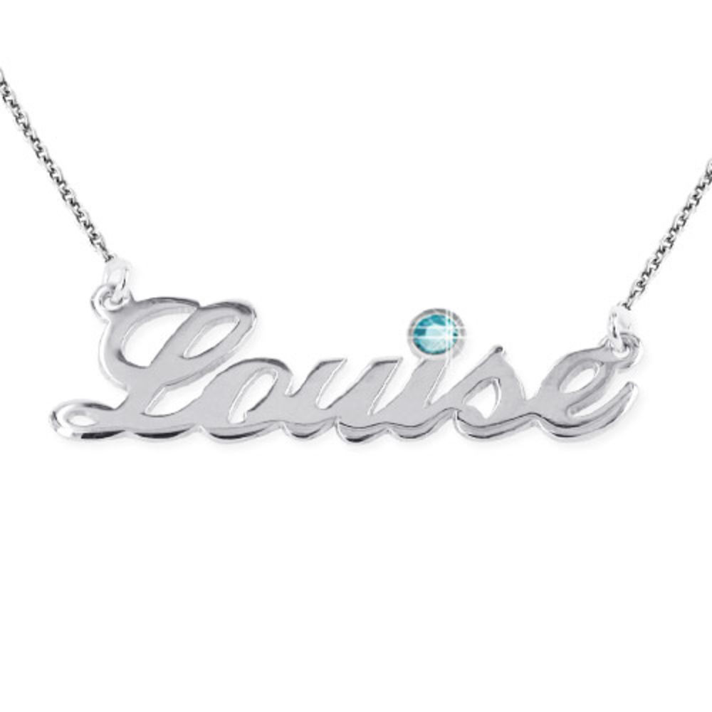 Silver Name Necklace with Diamond Style Accent