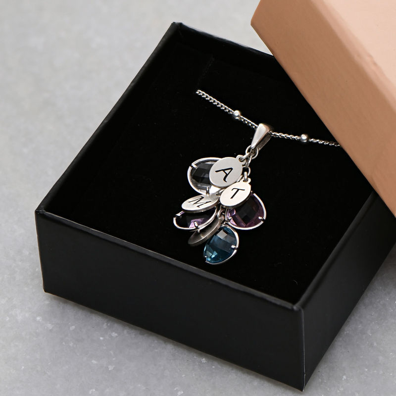 Custom Birthstone Drop Necklace for Mom in Silver - 3