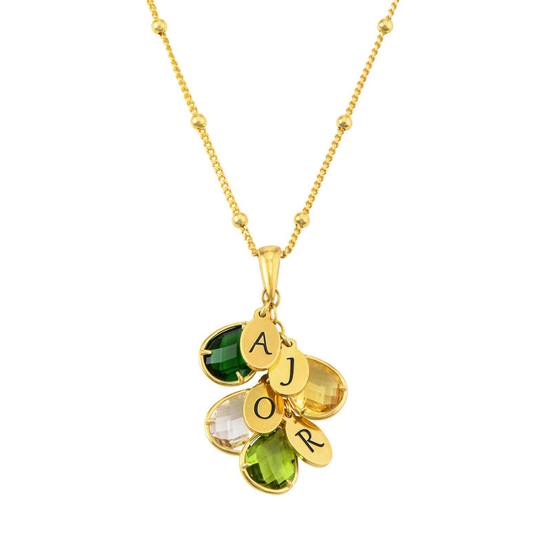 Custom Birthstone Drop Necklace for Mom in Gold Plating