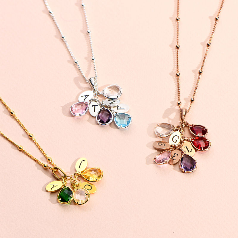 Custom Birthstone Drop Necklace for Mom in Gold Plating - 1