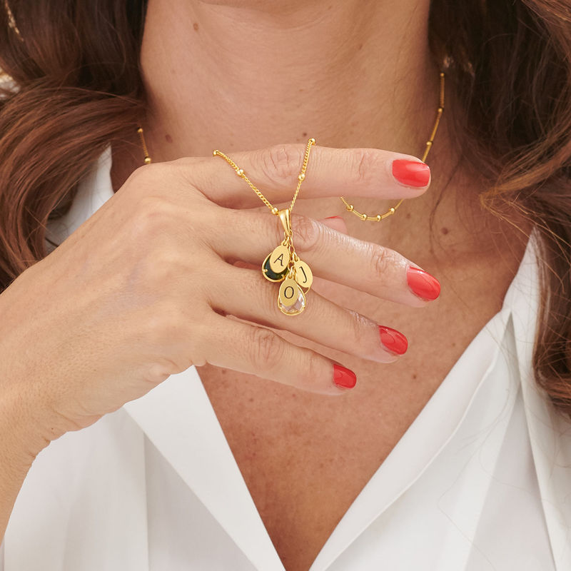 Custom Birthstone Drop Necklace for Mom in Gold Plating - 3