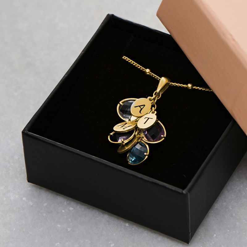 Custom Birthstone Drop Necklace for Mom in Gold Plating - 4