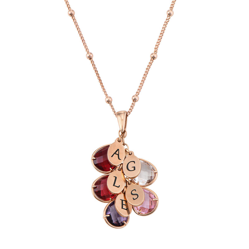 Custom Birthstone Drop Necklace for Mom in Rose Gold Plating