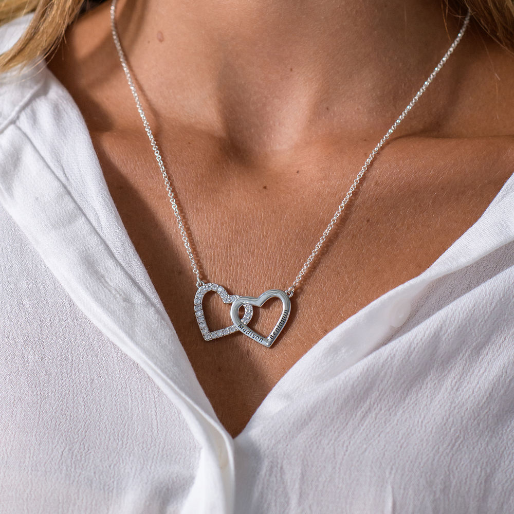 Engraved Double Heart Necklace in Sterling Silver - 1