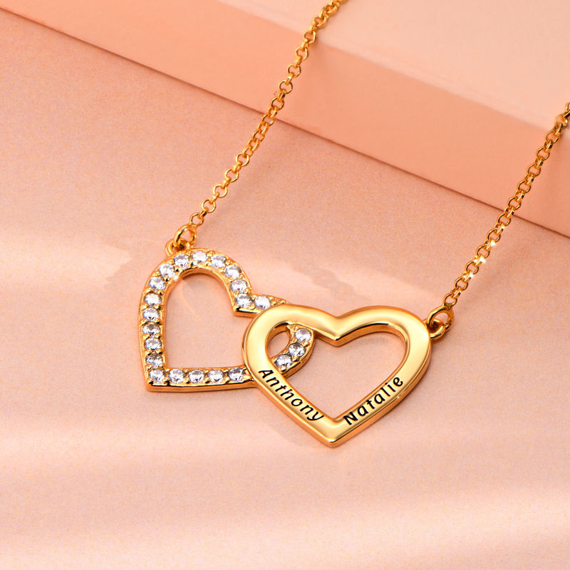 Engraved Double Heart Necklace in Gold Plating - 1