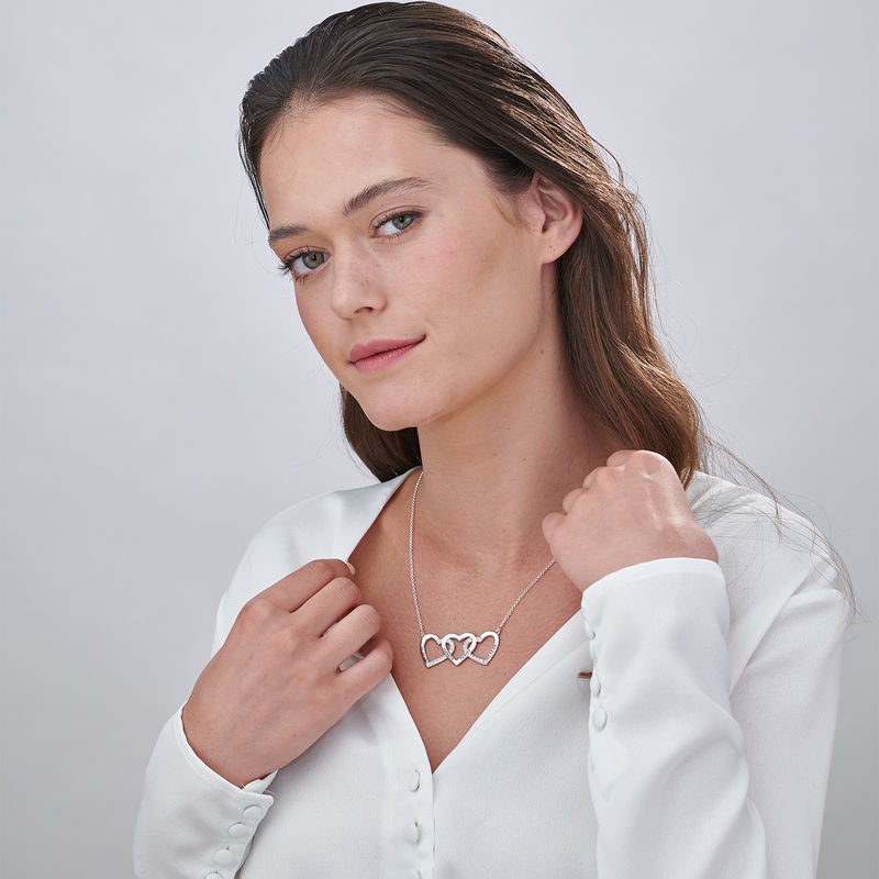 Engraved 3 Hearts Pendant Necklace in Silver - 1