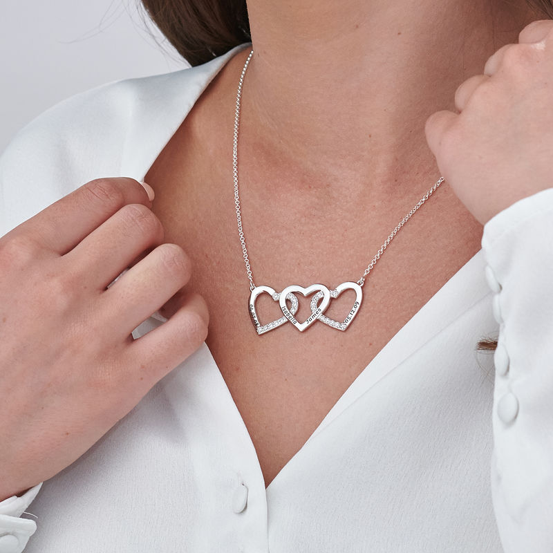 Engraved 3 Hearts Pendant Necklace in Silver - 2