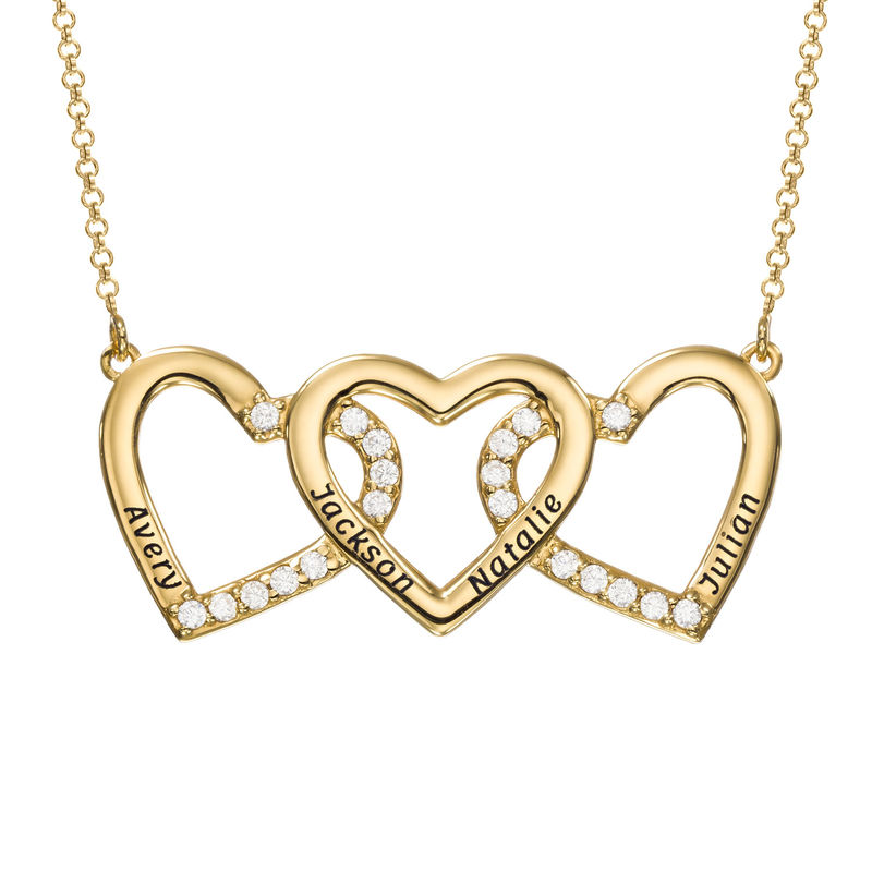 Engraved 3 Hearts Pendant Necklace in Gold Plating