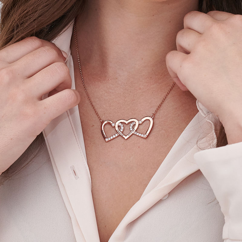 Engraved 3 Hearts Pendant Necklace in Rose Gold Plating - 2