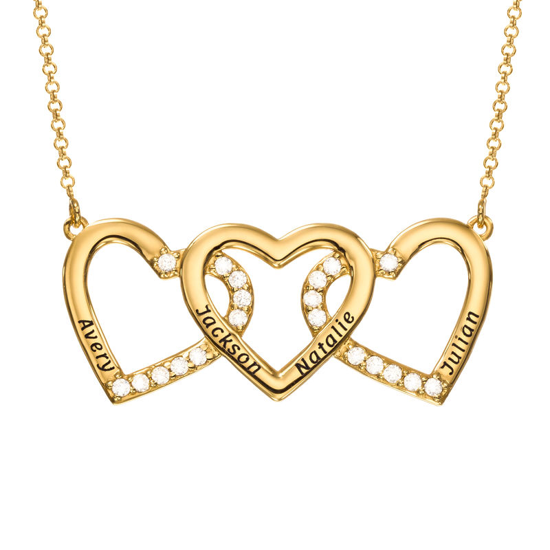 Engraved 3 Heart Pendant Necklace in Gold Vermeil