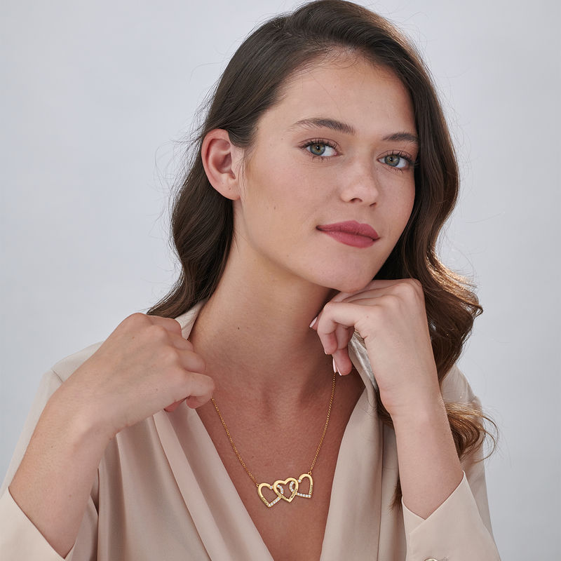 Engraved 3 Heart Pendant Necklace in Gold Vermeil - 1
