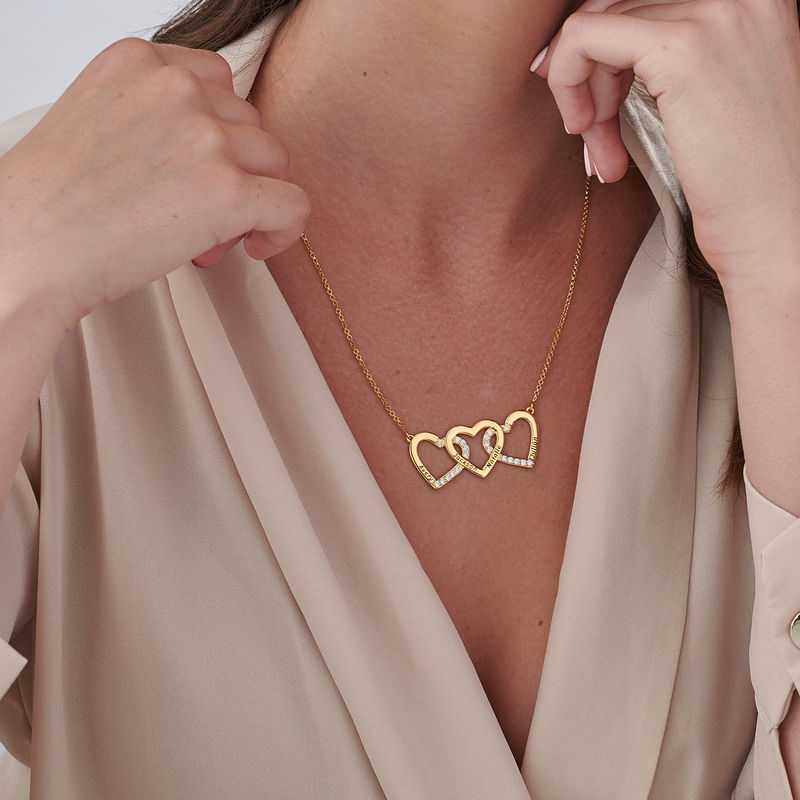 Engraved 3 Heart Pendant Necklace in Gold Vermeil - 2