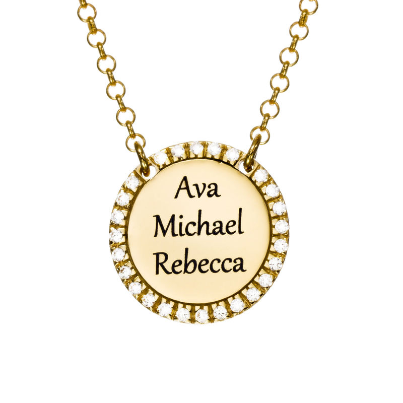 Personalized Round Cubic Zirconia Necklace in Gold Plating