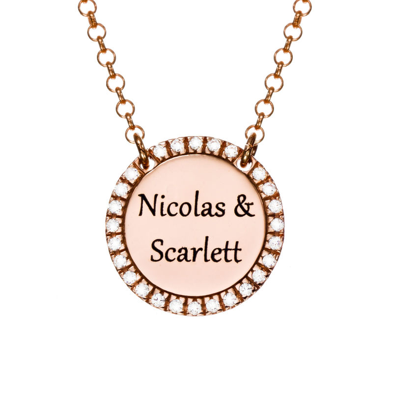 Personalized Round Cubic Zirconia Necklace in Rose gold Plating