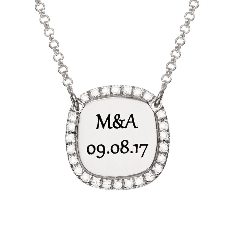 Personalized Square Cubic Zirconia Necklace in Silver