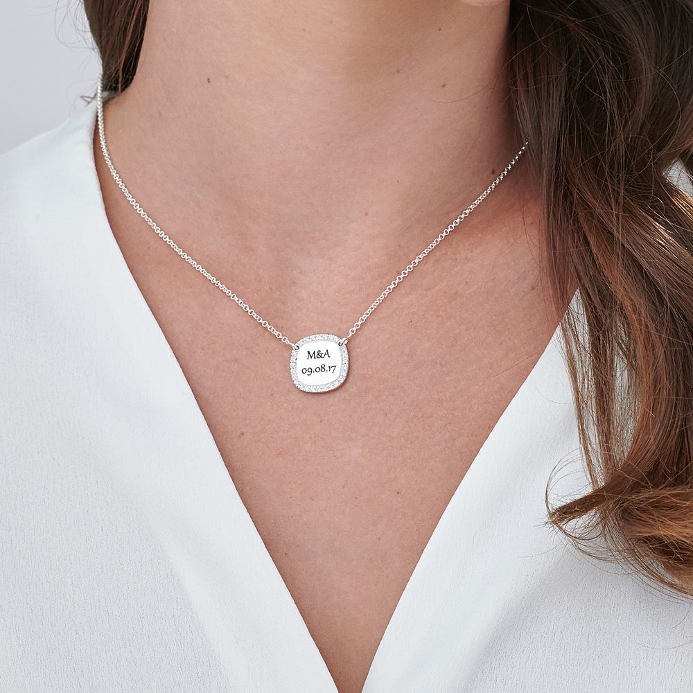 Personalized Square Cubic Zirconia Necklace in Silver - 4